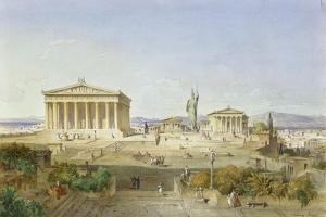 The Acropolis of Athens in the Time of Pericles 444 BC. 1851 by Ludwig Lange