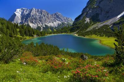 Austria, Ehrwald, Seebensee with Zugspitze