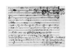Autograph Score Sheet For the Trio Mi Bemol Opus 3 by Ludwig Van Beethoven
