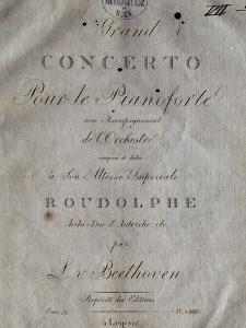 Title Page of Score for Concerto for Piano and Orchestra No 5, Opus 73 by Ludwig Van Beethoven