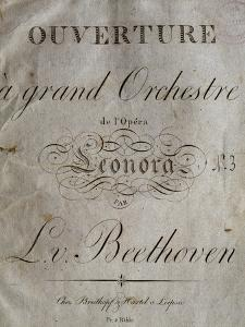 Title Page of Score for Overture to Leonore by Ludwig Van Beethoven