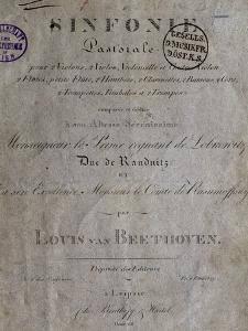 Title Page of Score for Pastoral Symphony No 6 in F Major, Opus 68 by Ludwig Van Beethoven