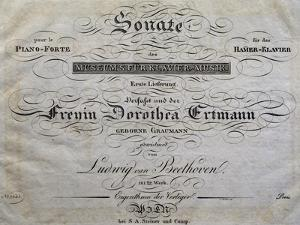 Title Page of Score for Piano Sonata by Ludwig Van Beethoven