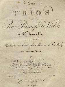 Title Page of Score for Set of Two Piano Trios, Written for Piano, Violin, and Cello, Opus 70 by Ludwig Van Beethoven