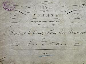 Title Page of Score for Sonata Appassionata by Ludwig Van Beethoven