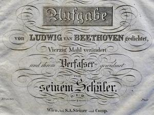 Title Page of Score for Variations on Theme Written for Archduke Rudolph by Ludwig Van Beethoven