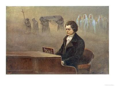 Ludwig Van Beethoven While Sitting at His Piano Beethoven Contemplates His Vision of Death--Giclee Print