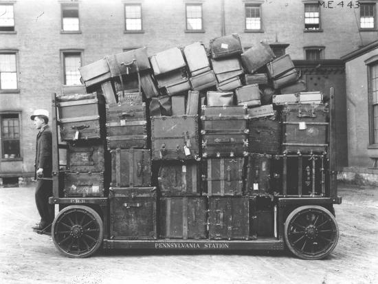 Luggage Cart, Penn Station, New York, C.1910--Photographic Print