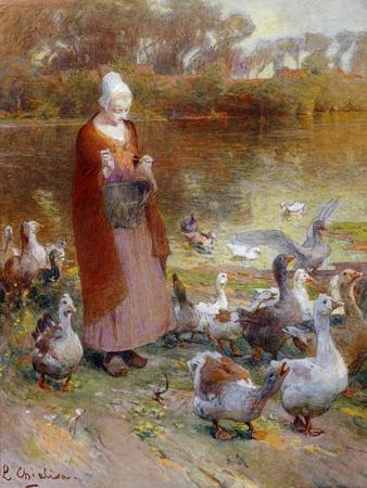 Shepherdess and Turkeys