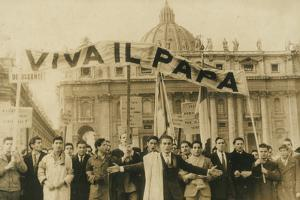 Group of Men with Banners Praising the Pope During a Liturgy in Piazza San Pietro, Rome by Luigi Leoni