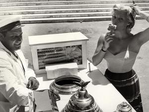 The French Actress Helen Remy Eating an Ice Cream by Luigi Leoni