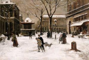 A Winter Street Scene, Paris by Luigi Loir