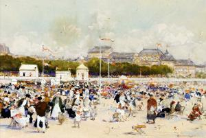 La Plage a Deauville by Luigi Loir