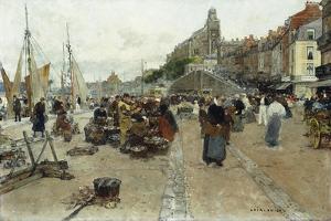 Marketplace by a Harbour by Luigi Loir
