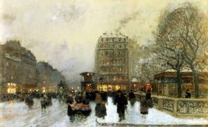 Parisian Street Scene in Winter by Luigi Loir