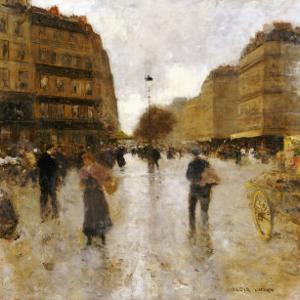 Parisian Street Scene by Luigi Loir