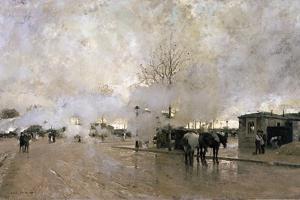 Smoke on the Paris Circuit Line, 1885 by Luigi Loir