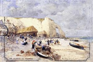 The Beach at Etretat by Luigi Loir