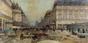 The Construction of the Metro, 1900 by Luigi Loir