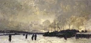 The Seine in December, 1879 by Luigi Loir