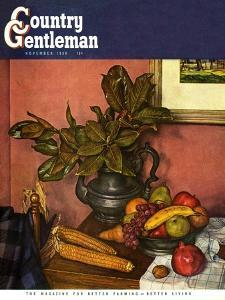 """Fruit Still Life,"" Country Gentleman Cover, November 1, 1950 by Luigi Lucioni"