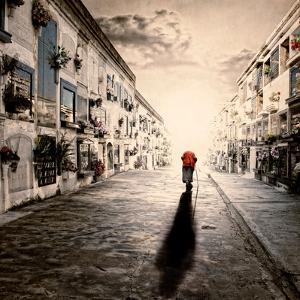 An Old Woman Walking in a Cementery by Luis Beltran