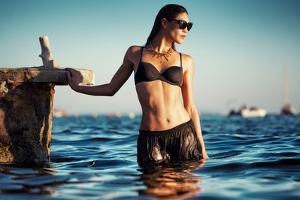 Female Model Wearing Bikini by Luis Beltran