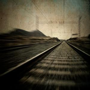 Train Travelling at Speed on a Railway by Luis Beltran