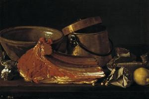 Bodegón con chuletón, condimentos y recipientes, Late 18th century. by Luis Egidio Mel?ndez