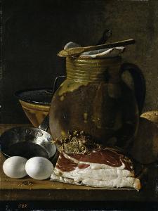 """""""Bodegón con jamón, huevos y recipientes, Late 18th century. by Luis Egidio Mel?ndez"""