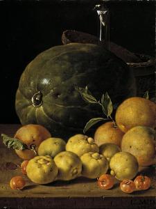 Bodegón con limas, naranjas, acerolas y sandía by Luis Egidio Mel?ndez