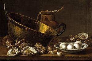 Bodegón con ostras, ajos, huevos, perol y puchero by Luis Egidio Mel?ndez
