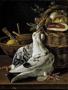 Bodegón con pichones, cesta de comida y cuencos, Late 18th century. by Luis Egidio Mel?ndez