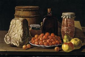 Bodegón con plato de acerolas, frutas, queso, melero y otros recipientes, 1771. by Luis Egidio Mel?ndez