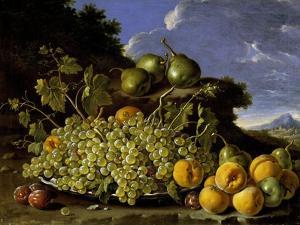 Bodegón con plato de uvas, melocotones, peras y ciruelas en un paisaje, Late 18th century. by Luis Egidio Mel?ndez