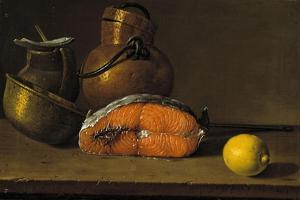 Piece of Salmon, a Lemon and Three Vessels, 1772 by Luis Egidio Mel?ndez
