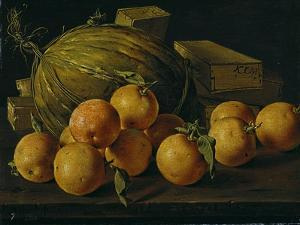 Still Life of Oranges, Melons and Boxes of Sweets, Late 18th century. by Luis Egidio Mel?ndez