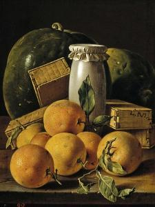 Still Life of Oranges, Watermelon, a Pot, and Boxes of Cake, Ca. 1760 by Luis Egidio Mel?ndez