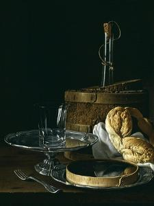 Still Life with Box of Jellied Fruit, Bread, Silver Salver, Glass, and Wine Cooler, 1770 by Luis Egidio Mel?ndez