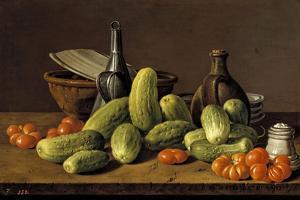 Still Life with Cucumbers, Tomatoes, and Kitchen Utensils, 1774 by Luis Egidio Mel?ndez
