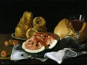 Still Life with Glass of Wine, Watermelon and Bread, 1770. by Luis Egidio Mel?ndez