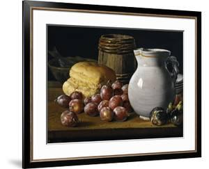 Still Life with Plums, Figs, Bread and Fish by Luis Egidio Mel?ndez