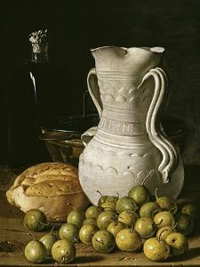 Still Life with Small Pears, Bread, White Pitcher, Glass Bottle, and Earthenware Bowl, 1760 by Luis Egidio Mel?ndez