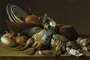 Two Partridges, Onions, Garlic and Vessels by Luis Egidio Mel?ndez