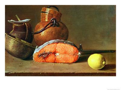Still Life with a Piece of Salmon, a Lemon and Kitchen Utensils