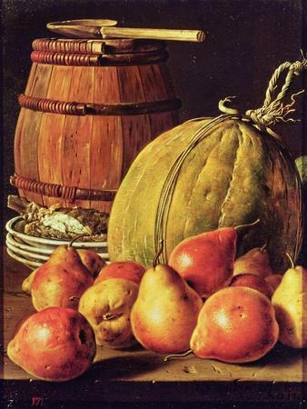 Still Life with Pears, Melon and Barrel for Marinading