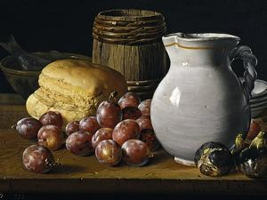 Still Life with Plums, Figs, Bread and Fish by Luis Egidio Meléndez