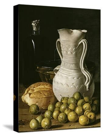 Still Life with Small Pears, Bread, White Pitcher, Glass Bottle, and Earthenware Bowl, 1760