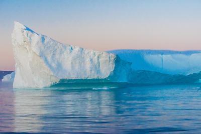 Stunning Iceberg Landscape with Midnight Sun Colors at Mouth ofIcefjord, Near Ilulissat, Greenland
