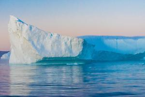 Stunning Iceberg Landscape with Midnight Sun Colors at Mouth ofIcefjord, Near Ilulissat, Greenland by Luis Leamus